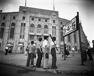 Yankee Stadium Painting - Boys Staring At Yankee Stadium by MotionAge Designs