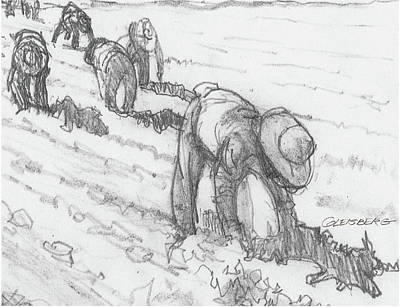 Drawing - Bracero Stoop Labor by Dean Gleisberg