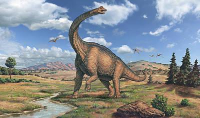 Brachiosaurus Dinosaur Art Print by Joe Tucciarone