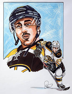 Nhl Hockey Drawing - Brad Marchand by Dave Olsen
