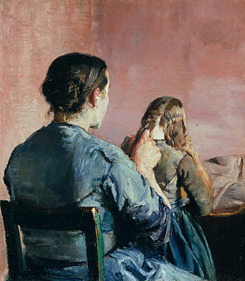 Norwegian Painting - Braiding Her Hair by Christian Krohg