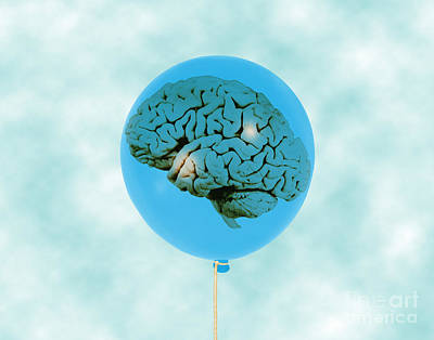 Brain In Balloon, Conceptual Art Print