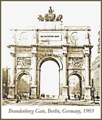 Brandenburg Gate, Berlin Germany, 1903, Vintage Image Art Print