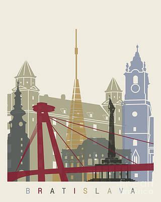 Slovakia Painting - Bratislava Skyline Pop by Pablo Romero