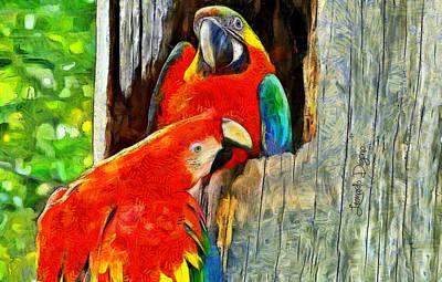 Macaw Painting - Brazilian Arara At Home - Van Gogh Style by Leonardo Digenio
