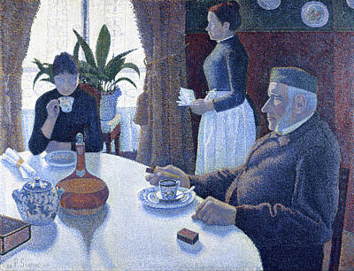 Divisionist Painting - Breakfast by Paul Signac