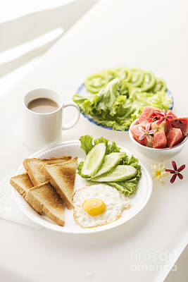 Comic Character Paintings - Breakfast With Egg Toast Fruit And Vegetable Salad by JM Travel Photography
