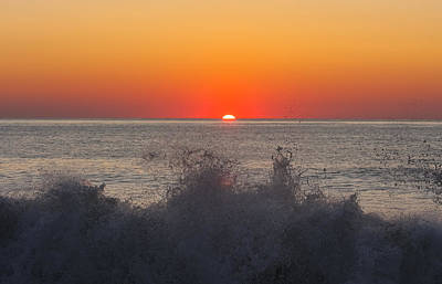 Breaking Wave At Sunrise Art Print by Allan Levin
