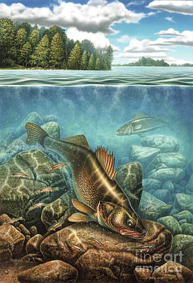 Breezy Point Walleye Painting - Breezy Point Walleye by JQ Licensing