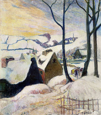 Breton Painting - Breton Village Under Snow by Paul Gauguin