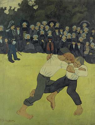 Nabis Painting - Breton Wrestling by Paul Serusier