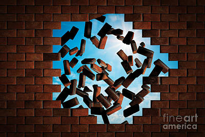 Concept Photograph - Brick Wall Falling Down Making A Hole To Sunny Sky Outside by Michal Bednarek