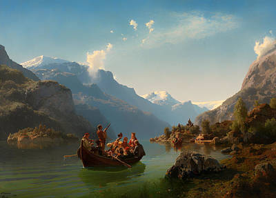 Mountain Valley Painting - Bridal Procession On The Hardangerfjord by Mountain Dreams