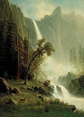 Painting - Bridal Veil Falls, Yosemite by Albert Bierstadt