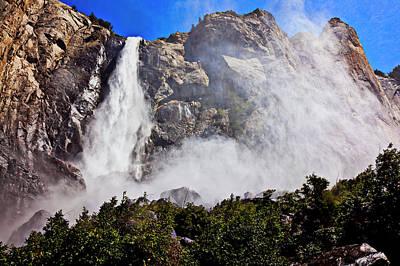 Snowy Mountain Photograph - Bridalveil Fall Yosemite Valley by Garry Gay