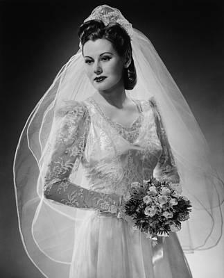 Bride Posing In Studio, (b&w), Portrait Art Print by George Marks