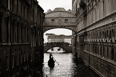 Photograph - Bridge Of Sighs And Gondola by Songquan Deng