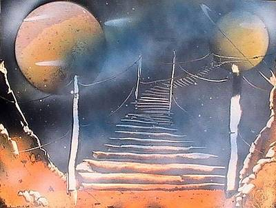 Outer Space Painting - Bridge To Space by My Imagination Gallery