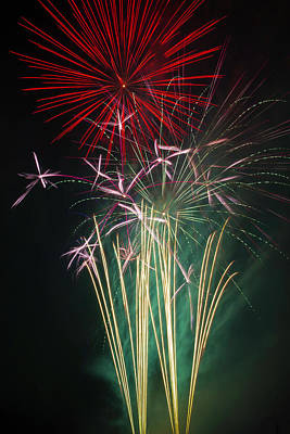 Bright Colorful Fireworks Art Print by Garry Gay