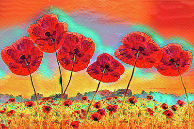 Photograph - Bright Fun Poppies On Fire by Debra and Dave Vanderlaan