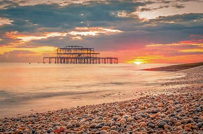 Brighton Beach At Sunset Art Print