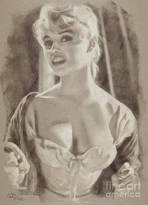 Musicians Drawings - Brigitte Bardot Hollywood Actress by John Springfield