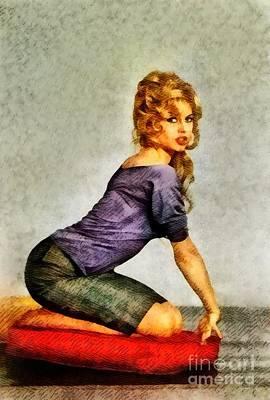 Bardot Painting - Brigitte Bardot, Vintage Actress by John Springfield