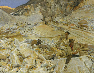 Painting - Bringing Down Marble From The Quarries To Carrara by John Singer Sargent