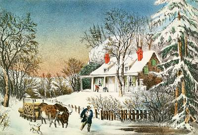 Snow Scene Painting - Bringing Home The Logs by Currier and Ives