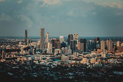 Black Background Mixed Media - Brisbane Cityscape From Mount Cootha #5 by Stanislav Kaplunov