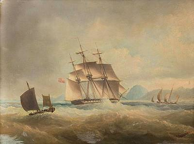 Stormy Weather Painting - British Barque On A Stormy Sea Off Coast by MotionAge Designs