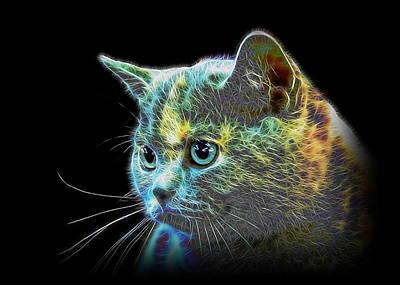 Portraits Of Pets Mixed Media - British Blue Cat by Denis Bajan