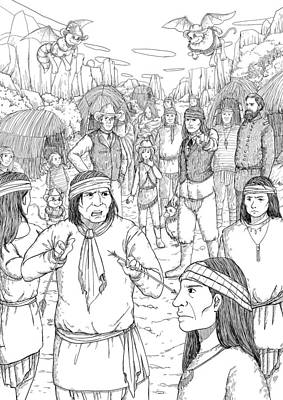 Apache Drawing - Broken Arrow by Reynold Jay