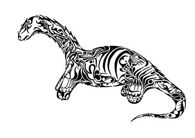Rorschach Drawing - Brontosaurus by Thomas Coleman