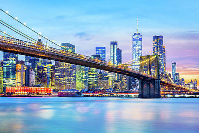 Photograph - Brooklyn Bridge And The Lower Manhattan Skyline by Mihai Andritoiu