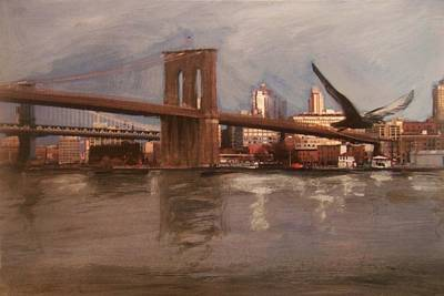 Brooklyn Bridge Print by Anita Burgermeister