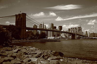 Photograph - Brooklyn Bridge - New York City Skyline by Frank Romeo