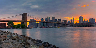 Nyc Skyline Photograph - Brooklyn Sunset by David Hahn