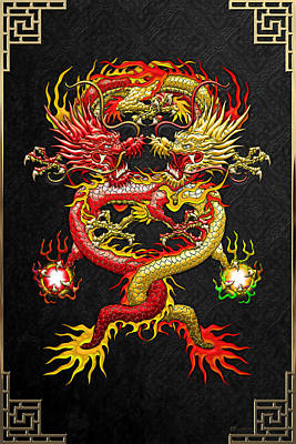 Brotherhood Of The Snake - The Red And The Yellow Dragons Art Print by Serge Averbukh