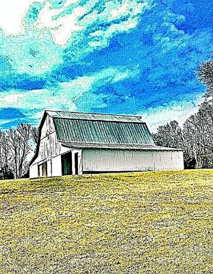 Roofing Tin Photograph - Brown County Indiana White Barn by Scott D Van Osdol