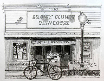Lamp Post Drawing - Brown County Playhouse by Stan Hamilton