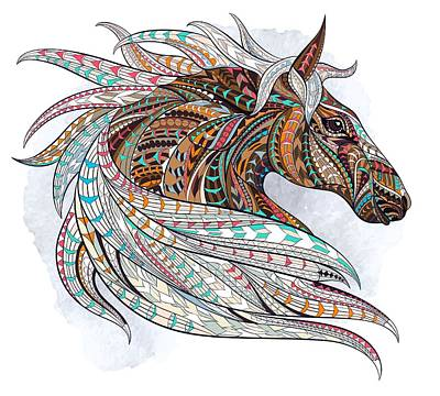 Painting - Brown Ethnic Horse by Aloke Creative Store