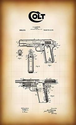 Browning Colt 45 Model 1911 Patent Art Print by Daniel Hagerman