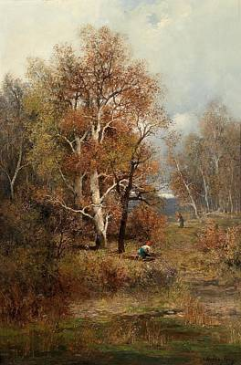 Nature Painting - Brushwood Collectors In An Autumn Woodland by Celestial Images