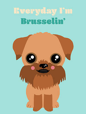 Griffon Digital Art - Brussels Griffon by Nicole Wilson
