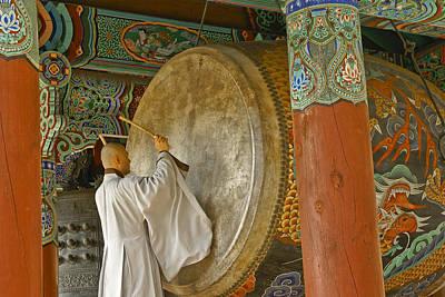 Photograph - Buddhist Monk Drumming by Michele Burgess
