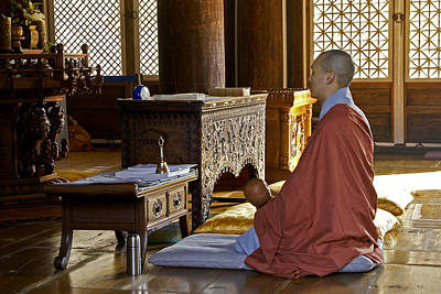 Photograph - Buddhist Monk In Prayer by Michele Burgess