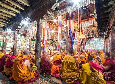 Buddhist Monks Praying In Thiksay Monastery Art Print