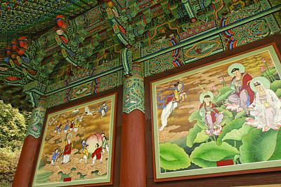 Photograph - Buddhist Murals by Michele Burgess