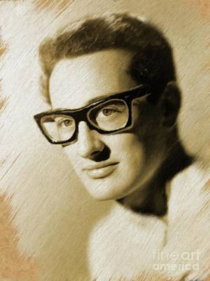 Painting - Buddy Holly, Music Legend by Mary Bassett